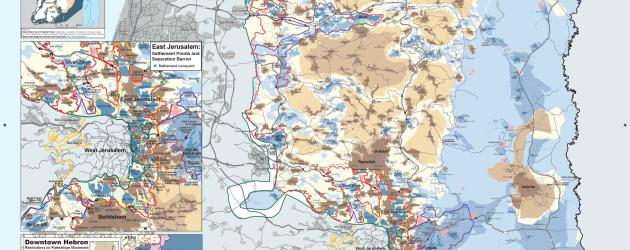 Mapa Zachodniego Brzegu, osiedli i muru separacyjnego – Mapa B'tselem – Listopad 2014